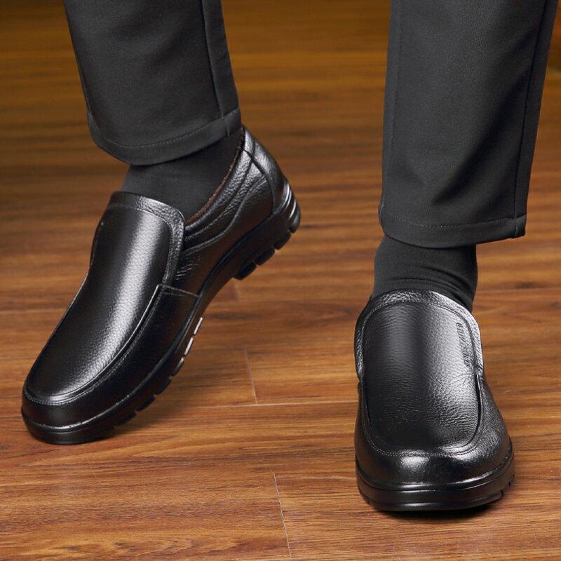 皮鞋 男 冬季皮鞋男皮質中年休閒防滑軟底刷毛保暖中老年人爸爸二棉鞋男鞋【xy3602】
