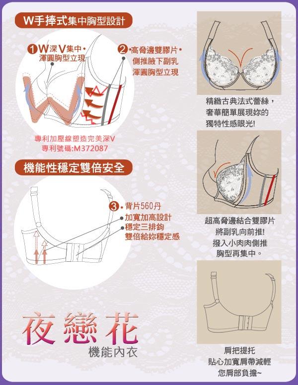 全店免運【夢蒂兒】夜戀花 W型專利 BCD罩杯機能內衣(葡萄紫) 3
