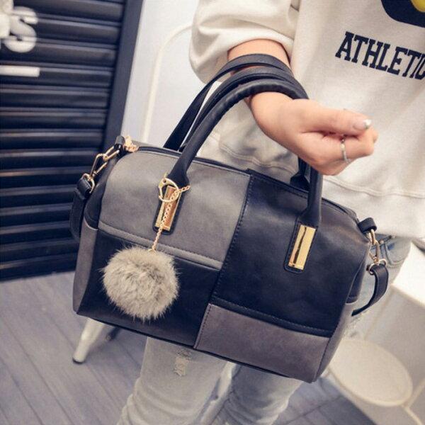糖衣子輕鬆購【BA0070】歐美時尚拼接波士頓包百搭單肩包斜跨包手提包
