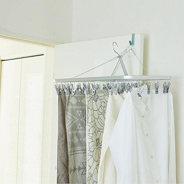 日本創意生活雜貨館:日本AISEN變身機能鋁合金框架32夾曬衣架