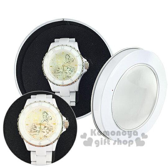 〔小禮堂〕迪士尼  米奇米妮 愛麗絲 手錶《白》