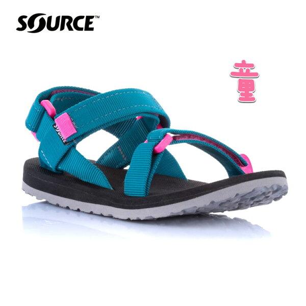 SOURCE兒童URBAN織帶涼鞋101093OQ【海洋藍-粉】城市綠洲(織帶、輕量、快乾、抑菌)