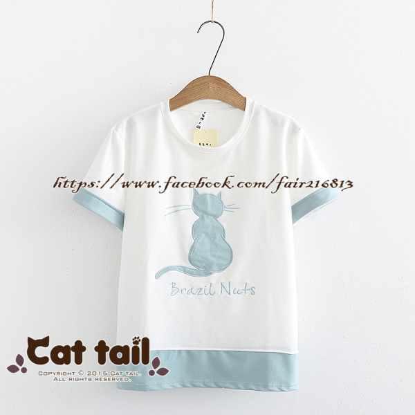 《貓尾巴》TS-0721日系可愛純色貓咪印花短袖上衣(森林系日系棉麻文青清新)