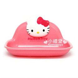 〔小禮堂〕Hello Kitty 吸盤式肥皂盤《粉紅.立體大臉》皂盒.菜瓜布收納架