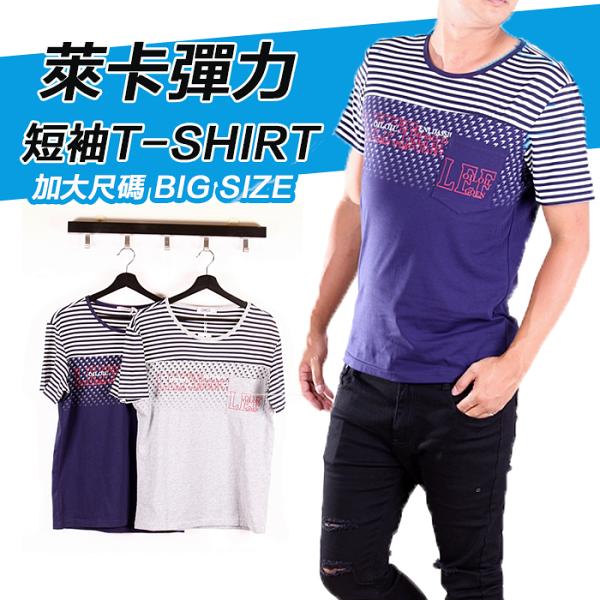 【CS衣舖】加大尺碼2L-3L韓系合身版萊卡彈力短袖T恤6102