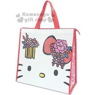 〔小禮堂〕Hello Kitty 側背購物袋《白.大臉.花》