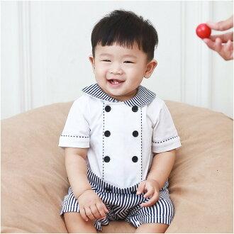 Augelute Baby 海軍風圓領雙排釦假兩件連身衣 60354