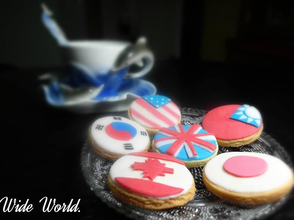 六國國家國旗造型手工餅乾 1盒6入【Wide World 手工餅乾】
