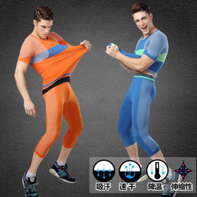 50%OFF SHOP【AD021868P】男士撞色緊身運動七分褲塑身塑型褲輕壓舒適透氣速乾MA15