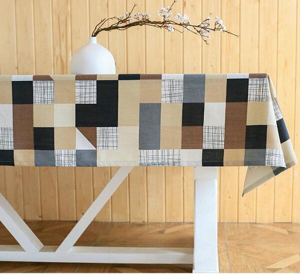 麻吉小舖:田園清新風桌布茶几桌布長方形餐桌布提花桌布-棕格子單售