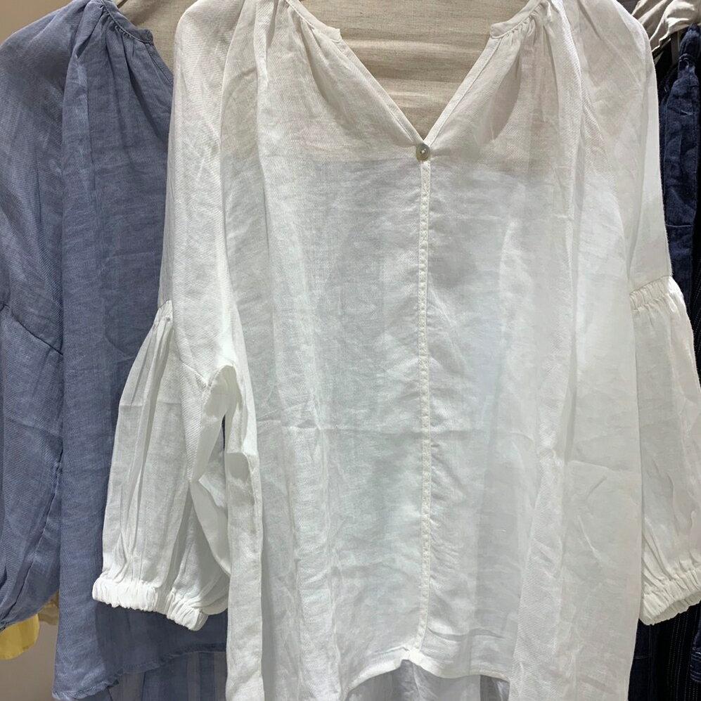 【原創】亞麻棉麻苧麻七分袖寬鬆上衣 三色可選