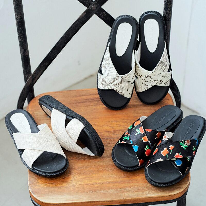 【S2-17321L】久走不累,簡約交叉真皮拖鞋_Shoes Party 0