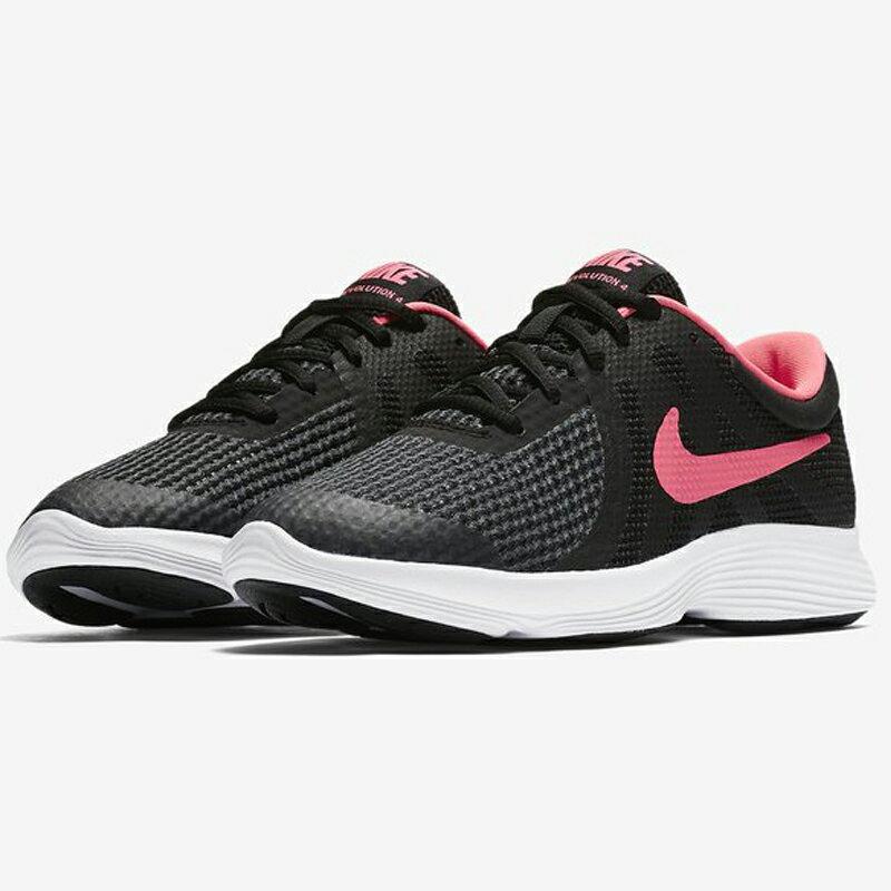 Nike Revolution 4 GS 女鞋 大童 童鞋 慢跑 輕量 黑 橘紅勾 【運動世界】 943306-004