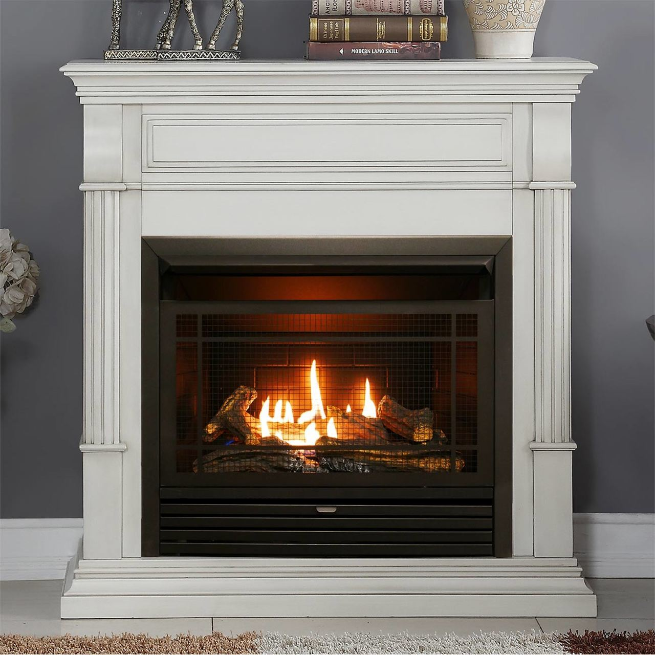 Duluth Forge Dual Fuel Ventless Gas Fireplace 26 000 Btu Remote Control Antique White