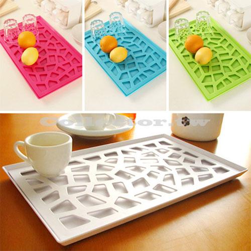 【超取299免運】韓版創意時尚托盤 塑料鏤空置物盤 雙層瀝水收納架 水果盤