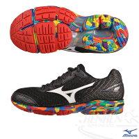 慢跑_路跑周邊商品推薦到MIZUNO 美津濃 WAVE RIDER 19 OSAKA 男慢跑鞋(黑*彩底) 大阪馬拉松限量紀念鞋