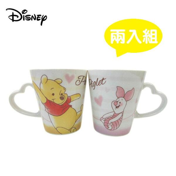 【日本正版】小熊維尼小豬心型馬克杯225ml咖啡杯對杯Winnie迪士尼Disney-064540