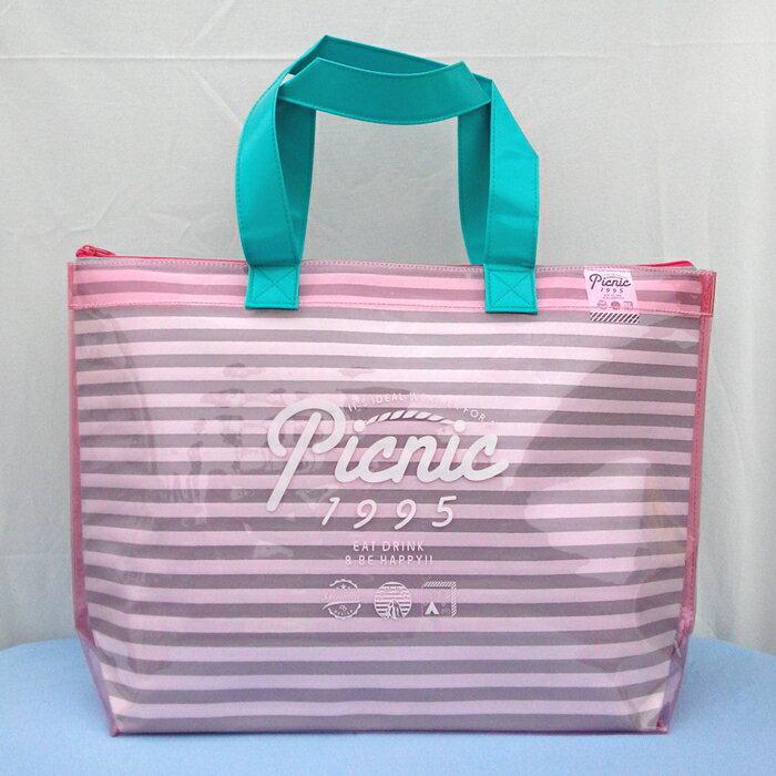 【日本CB JAPAN】防水條紋保冷保溫兩用袋9L(粉紅) 保冷袋/保溫袋/防水袋/肩背袋
