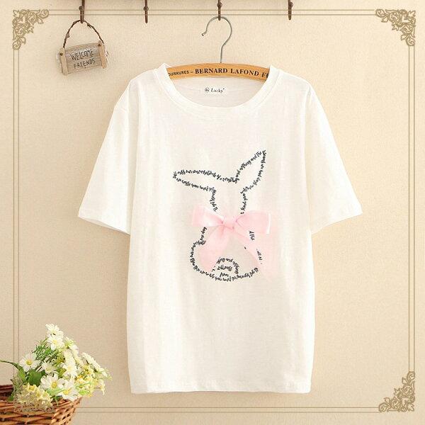 梅梅露*【55182091】蝴蝶結兔子短袖T恤上衣