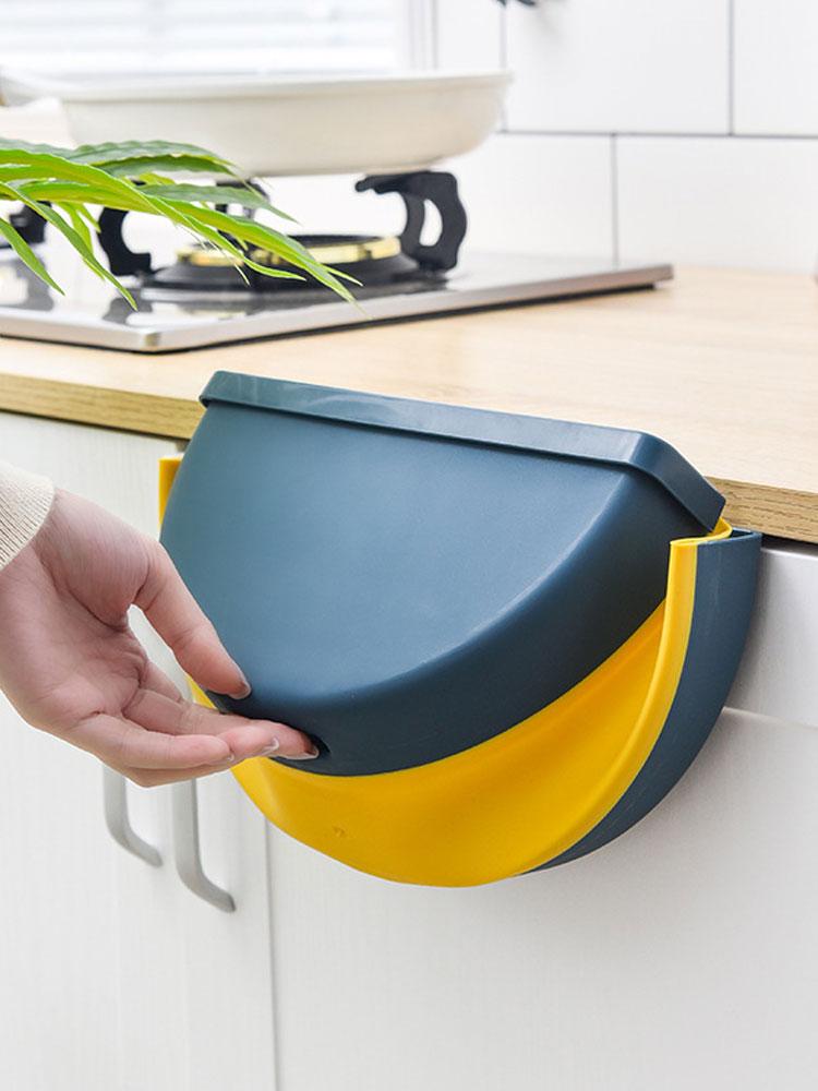 廚房櫥柜門掛式可折疊垃圾桶車內汽車載車上懸掛專用可愛小廢紙簍