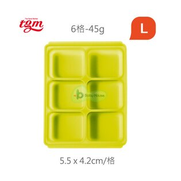 BabyHouse愛兒房TgmFDA白金矽膠副食品冷凍儲存分裝盒-L(6格)【悅兒園婦幼生活館】