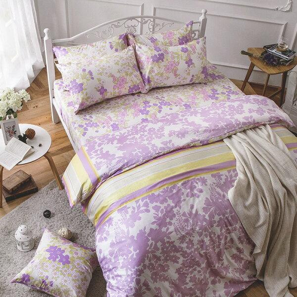 床包被套組雙人加大-100%精梳棉【AP迷草醉月-粉】60支精梳棉,含兩件枕套,戀家小舖,台灣製