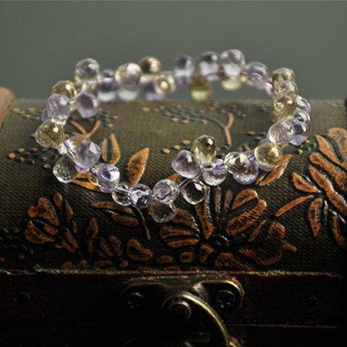 【晶誠】天然水晶天然紫黃晶水晶手鏈 刻面花瓣雙層手鏈