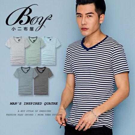 ☆BOY-2☆【PPK82110】短袖T恤韓簡約休閒V領細橫條紋滾邊素面短T 0