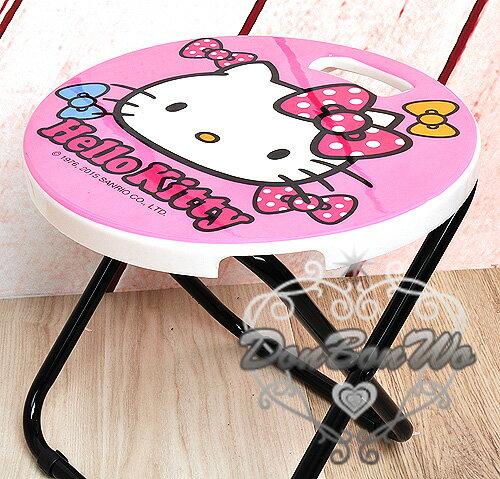 KITTY野餐戶外烤肉BBQ手提折疊椅攜帶方便圓形粉大臉蝴蝶結527129海渡