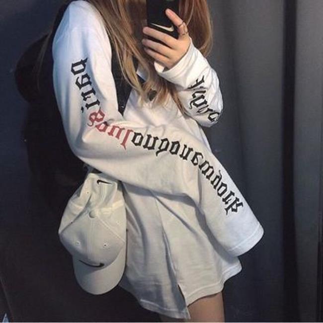 50^%OFF~G019471C~ 衛衣女 潮學生寬鬆套頭情侶外套超長袖T恤大碼 ~  好
