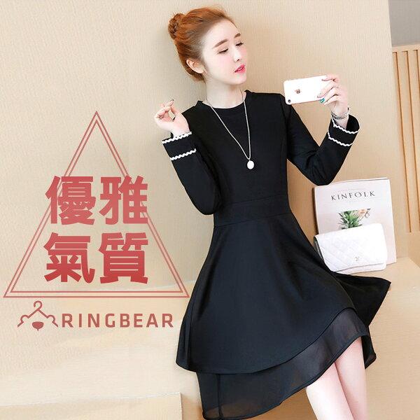 洋裝--時尚顯瘦公主線剪接蕾絲花邊袖口氣質假兩件連身裙(黑L-3L)-A329眼圈熊中大尺碼