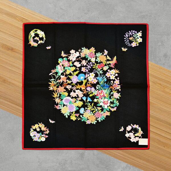 HYI 家居生活館:日本集采苑-Flower百花繚乱手帕方巾頭巾(黑)《日本設計製造》《全館免運費》