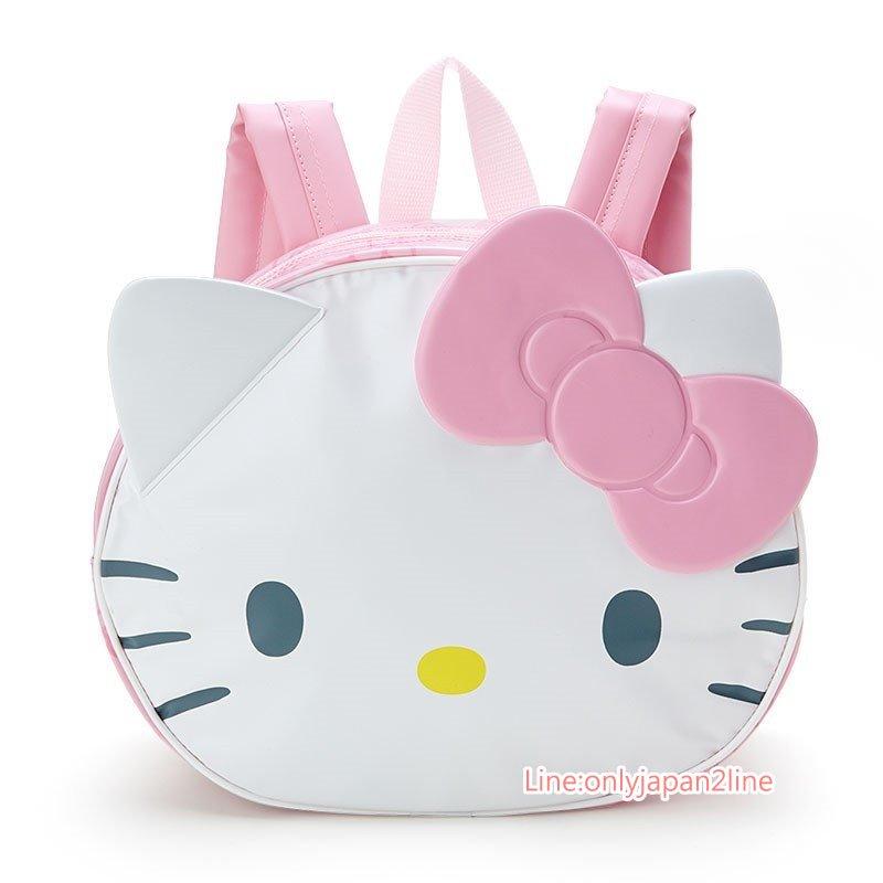 【真愛日本】17032200015 造型防水後背包-KT大臉粉結AAG 三麗鷗 Hello Kitty 凱蒂貓 兒童 提袋 後背