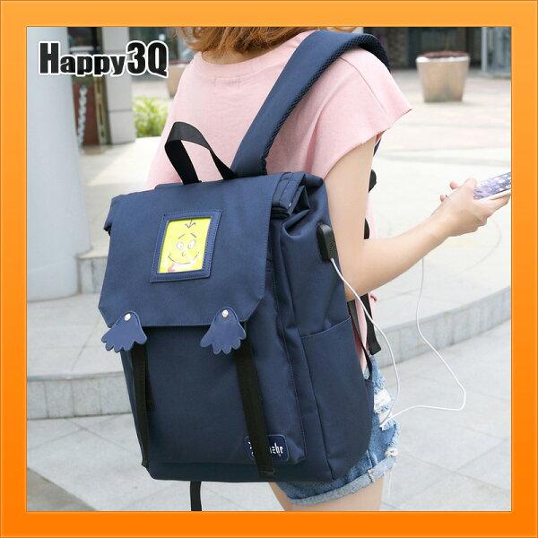 後背包雙肩包USB孔書包素色包高中生包大容量電腦包-藍粉黑【AAA3929】