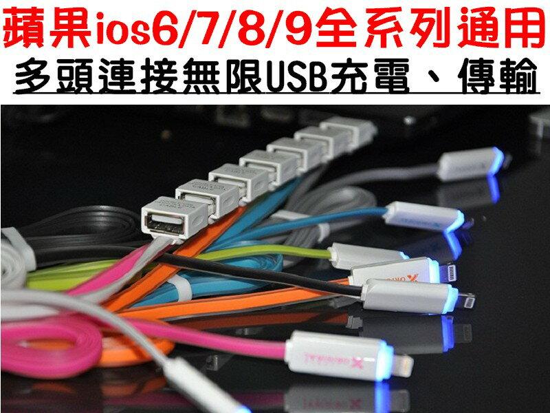 【凱益】 IOS全系列 多頭連接充電 果凍扁線 APPLE IPHONE7/7PLUS/6/6PLUS/5S/5 LED指示燈 發光 充電線 傳輸線 數據線