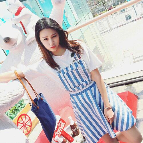 吊帶裙 - 胸前口袋設計條紋蓬蓬吊帶短裙【23292】藍色巴黎 - 現貨+預購 2