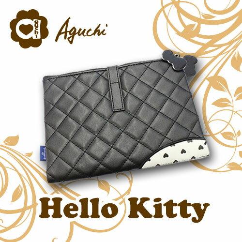Hallmark x Hello Kitty 聯名設計款 經典菱格紋皮革多功能手拿包/化妝包/收納包/護照夾 多層次透明設計