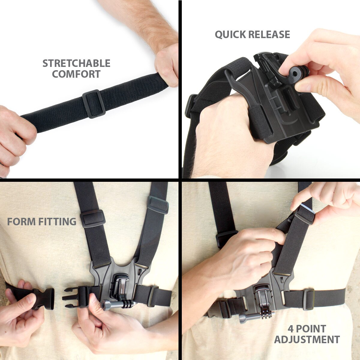 Tough Camera Chest Strap Mount with J Hook and Tripod Adapter by USA Gear - Works With Canon PowerShot D30 , Nikon Coolpix AW130 , Olympus TG-4 & More 2