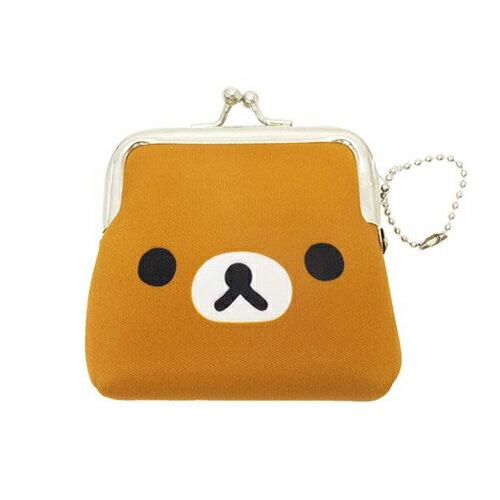 懶熊款【日本進口正版】San-X 拉拉熊 防震棉 珠扣包 零錢包 收納包 懶懶熊 Rilakkuma - 419219