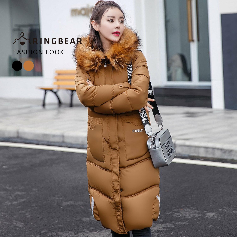 大衣--高雅氣質保暖毛領連帽深口前口袋羽絨棉長版外套(黑.卡其XL-3L)-J326眼圈熊中大尺碼 1