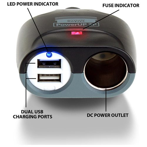 ReVIVE Professional Series PowerUP 3P Dual USB and DC Power Adapter - 5 V DC Output Voltage - 2 A Output Current 1