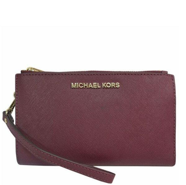 MICHAEL KORS 手機包 皮夾 十字紋防刮真皮 長夾 手機包 皮夾 手拿包 M03069酒紅色MK(現貨)