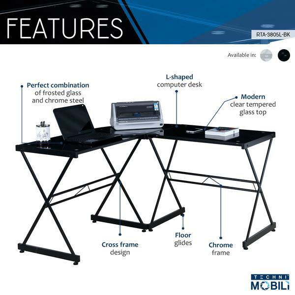 Techni Mobili Black L Shaped Glass Computer Desk 3