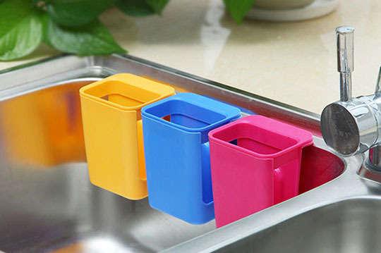 日本吸盤式水槽收納盒(一組3入顏色隨機出貨)