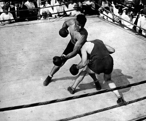 Jack Dempsey (1895-1983) Namerican Boxer Jack Dempsey Fighting An Opponent C1919 Rolled Canvas Art - (24 x 36) 1f98fd02d56df6f4e226f3309376780f