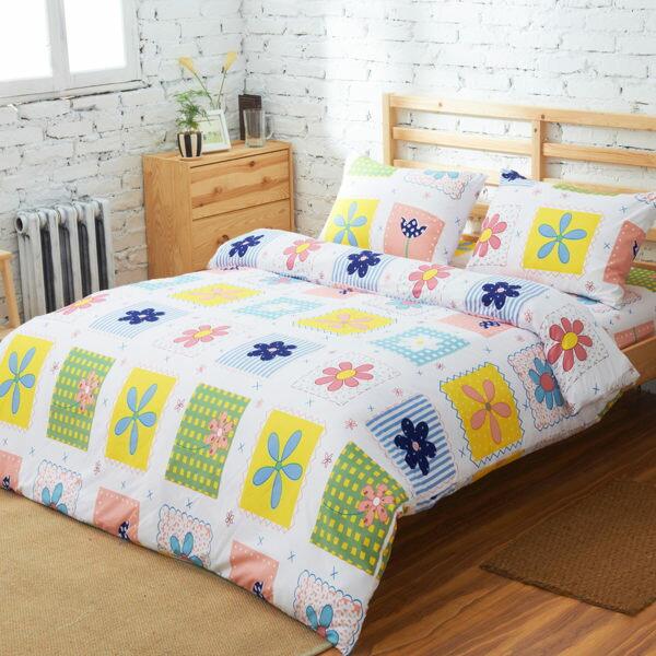 柔絲絨 舖棉兩用被床包組 單人三件式-彩色世界/ 哇哇購