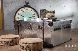 【純真年代】復古風工業風 梅菲爾飛行員風 鋁皮箱造型咖啡桌 工作桌 落地桌 矮桌 Loft特色個性傢俱家具 咖啡廳民宿餐廳設計裝潢 ~408~