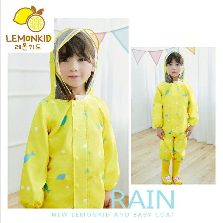 Lemonkid◆ 新款馬卡龍色悠遊小魚兒透明帽沿兒童學生連體式連身雨衣-黃色