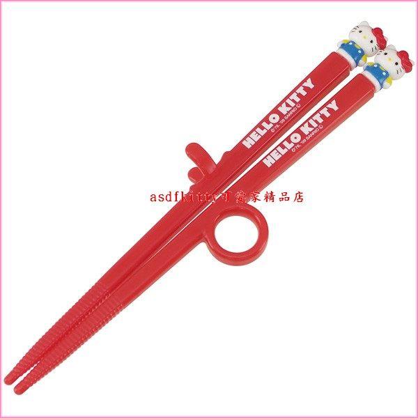 asdfkitty可愛家☆KITTY紅色兒童學習筷-第一階段右手用-有止滑圈歐-日本正版商品