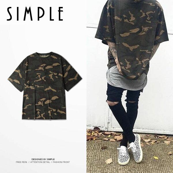 SIMPLE:★現貨★迷彩OVERSIZE七分嘻哈美式街舞T恤特寬版型短tee男女【E004】SIMPLE